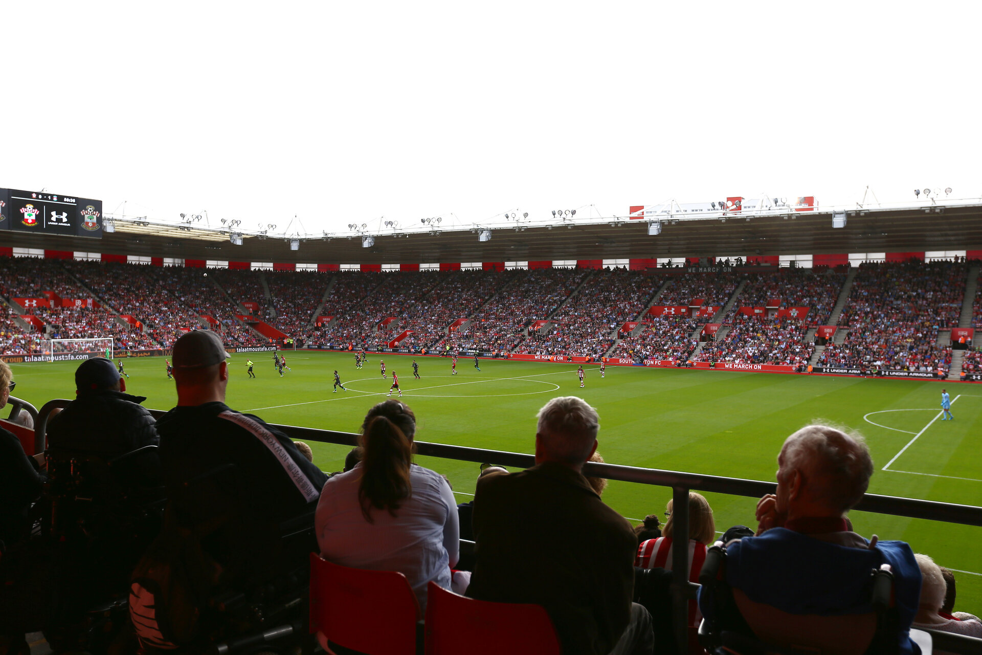 SOUTHAMPTON, ENGLAND - AUGUST 17: Disabled view point from the Itchen stand during the Premier League match between Southampton FC and Liverpool FC at St Mary's Stadium on August 17, 2019 in Southampton, United Kingdom. (Photo by James Bridle - Southampton FC/Southampton FC via Getty Images)
