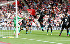 SOUTHAMPTON, ENGLAND - AUGUST 17: Maya Yoshida(R) of Southampton beats Virgil Van Dijk(L) of Liverpool to a header during the Premier League match between Southampton FC and Liverpool FC at St Mary's Stadium on August 17, 2019 in Southampton, United Kingdom. (Photo by Matt Watson/Southampton FC via Getty Images)