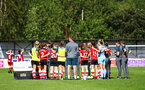 CHESHAM, ENGLAND - AUGUST 18 :  Team huddle after a successful win during the Womens match between Chesham United FC and Southampton FC pictured at Chesham United FC Ground, 2019 in Buckinghamshire, England. (Photo by James Bridle - Southampton FC/Southampton FC via Getty Images)