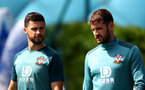 SOUTHAMPTON, ENGLAND - AUGUST 20: Shane Long(L) and Jack Stephens during a Southampton FC training session at the Staplewood Campus on August 20, 2019 in Southampton, England. (Photo by Matt Watson/Southampton FC via Getty Images)