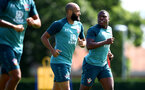 SOUTHAMPTON, ENGLAND - AUGUST 20: Nathan Redmond(L) and Michael Obafemi during a Southampton FC training session at the Staplewood Campus on August 20, 2019 in Southampton, England. (Photo by Matt Watson/Southampton FC via Getty Images)