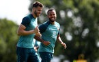 SOUTHAMPTON, ENGLAND - AUGUST 20: Wesley Hoedt(L) and Ryan Bertrand during a Southampton FC training session at the Staplewood Campus on August 20, 2019 in Southampton, England. (Photo by Matt Watson/Southampton FC via Getty Images)