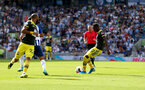 BRIGHTON, ENGLAND - AUGUST 24: Moussa Djenepo of Southampton shoots and scores during the Premier League match between Brighton & Hove Albion and Southampton FC at American Express Community Stadium on August 24, 2019 in Brighton, United Kingdom. (Photo by Matt Watson/Southampton FC via Getty Images)
