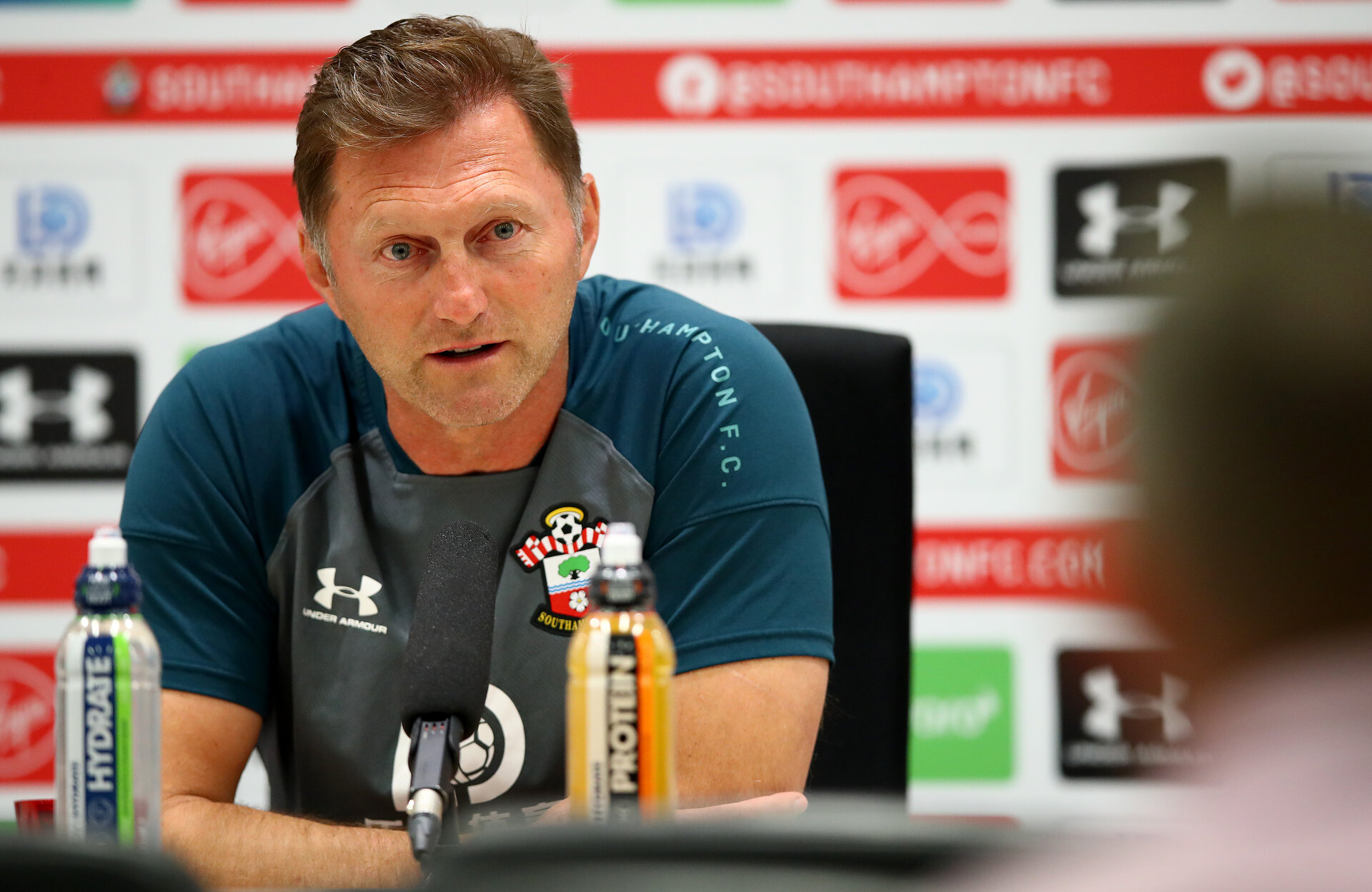 SOUTHAMPTON, ENGLAND - AUGUST 29: Manager Ralph Hasenhuttl during a Southampton FC press conference at the Staplewood Campus on August 29, 2019 in Southampton, England. (Photo by Matt Watson/Southampton FC via Getty Images)