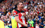 SOUTHAMPTON, ENGLAND - AUGUST 31: Pierre-Emile Hojbjerg of Southampton celebrates during the Premier League match between Southampton FC and Manchester United at St Mary's Stadium on August 31, 2019 in Southampton, United Kingdom. (Photo by Matt Watson/Southampton FC via Getty Images)