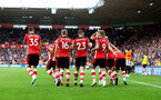 SOUTHAMPTON, ENGLAND - AUGUST 31: Players of Southampton celebrate during the Premier League match between Southampton FC and Manchester United at St Mary's Stadium on August 31, 2019 in Southampton, United Kingdom. (Photo by Matt Watson/Southampton FC via Getty Images)