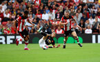 SOUTHAMPTON, ENGLAND - AUGUST 31: Pierre-Emile Hojbjerg of Southampton wins the ball during the Premier League match between Southampton FC and Manchester United at St Mary's Stadium on August 31, 2019 in Southampton, United Kingdom. (Photo by Matt Watson/Southampton FC via Getty Images)
