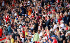 SOUTHAMPTON, ENGLAND - AUGUST 31: Saints fans during the Premier League match between Southampton FC and Manchester United at St Mary's Stadium on August 31, 2019 in Southampton, United Kingdom. (Photo by Matt Watson/Southampton FC via Getty Images)
