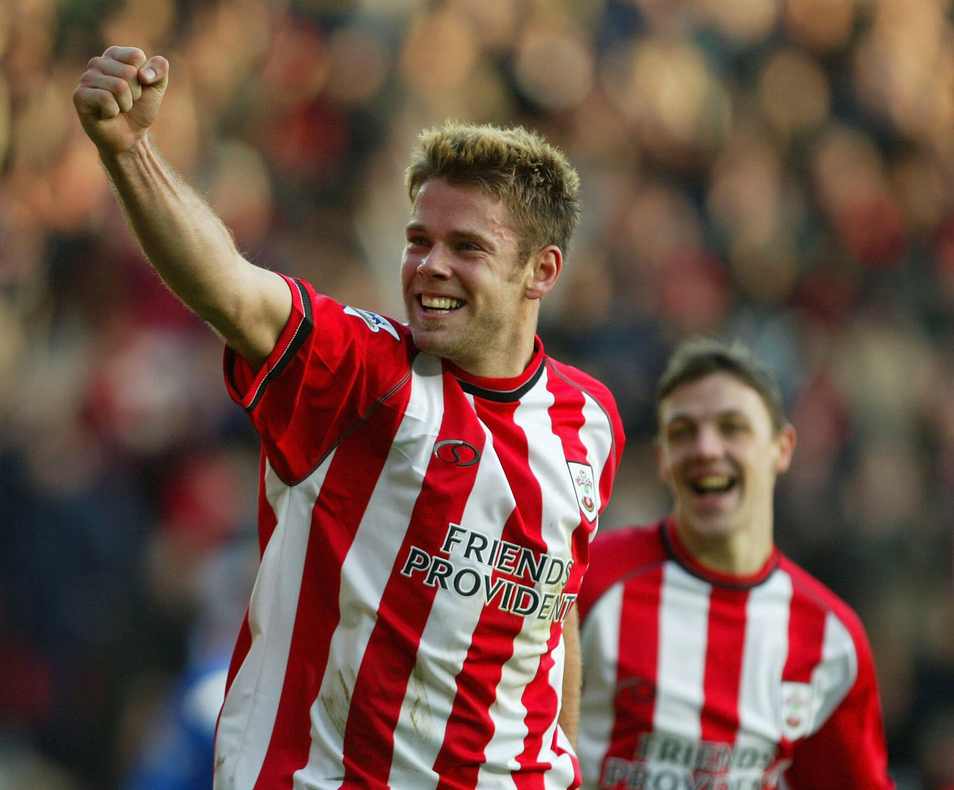 SOUTHAMPTON, ENGLAND - DECEMBER 21:  James Beattie of Southampton celebrates scoring the third goal during the FA Barclaycard Premiership match between Southampton and Portsmouth at St Mary's Stadium  on December 21, 2003, in Southampton, England.  (Photo by Mike Hewitt/Getty Images)