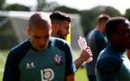 SOUTHAMPTON, ENGLAND - SEPTEMBER 05: Shane Long drinks from a Wow Hydrate bottle during a Southampton FC training session at the Staplewood Campus on September 05, 2019 in Southampton, England. (Photo by Matt Watson/Southampton FC via Getty Images)