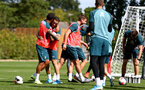 SOUTHAMPTON, ENGLAND - SEPTEMBER 05: Ryan Bertrand(L) and Danny Ings during a Southampton FC training session at the Staplewood Campus on September 05, 2019 in Southampton, England. (Photo by Matt Watson/Southampton FC via Getty Images)