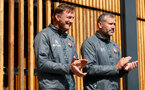SOUTHAMPTON, ENGLAND - SEPTEMBER 05: Ralph Hasenhuttl(L) and Kelvin Davis during a Southampton FC training session at the Staplewood Campus on September 05, 2019 in Southampton, England. (Photo by Matt Watson/Southampton FC via Getty Images)
