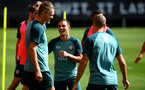 SOUTHAMPTON, ENGLAND - SEPTEMBER 05: Jannik Vestergaard(L) and Cedric Soares during a Southampton FC training session at the Staplewood Campus on September 05, 2019 in Southampton, England. (Photo by Matt Watson/Southampton FC via Getty Images)