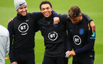 SOUTHAMPTON, ENGLAND - SEPTEMBER 09: (L-R) Ben Chilwell, Trent Alexander-Arnold and Alex Oxlade-Chamberlain of England look on during an England training session at St. Mary's Stadium on September 09, 2019 in Southampton, England. (Photo by Julian Finney/Getty Images)