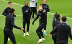 England's striker Harry Kane (C) laughs with teammates at an England team training session at Staplewood Campus in southampton, southern England on September 9, 2019, ahead of their Euro 2020 football qualification match against Kosovo. (Photo by Glyn KIRK / AFP) / NOT FOR MARKETING OR ADVERTISING USE / RESTRICTED TO EDITORIAL USE        (Photo credit should read GLYN KIRK/AFP/Getty Images)