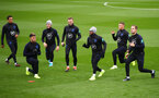 SOUTHAMPTON, ENGLAND - SEPTEMBER 09: England players stretch during an England training session at St. Mary's Stadium on September 09, 2019 in Southampton, England. (Photo by Julian Finney/Getty Images)