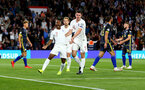 SOUTHAMPTON, ENGLAND - SEPTEMBER 10: Raheem Sterling(7) of England celebrates after making it 1-1 during the UEFA Euro 2020 qualifier match between England and Kosovo at St. Mary's Stadium on September 10, 2019 in Southampton, England. (Photo by Matt Watson/Southampton FC via Getty Images)