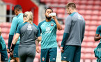 SOUTHAMPTON, ENGLAND - SEPTEMBER 12: Ryan Bertrand drinks from a Wow Hydrate bottle during a Southampton FC training session at St Mary's stadium on September 12, 2019 in Southampton, England. (Photo by Matt Watson/Southampton FC via Getty Images)