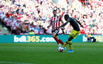 SHEFFIELD, ENGLAND - SEPTEMBER 14: Moussa Djenepo of Southampton opens the scoring during the Premier League match between Sheffield United and Southampton FC at Bramall Lane on September 14, 2019 in Sheffield, United Kingdom. (Photo by Matt Watson/Southampton FC via Getty Images)