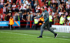 SHEFFIELD, ENGLAND - SEPTEMBER 14: Ralph Hasenhuttl of Southampton celebrates at the final whistle during the Premier League match between Sheffield United and Southampton FC at Bramall Lane on September 14, 2019 in Sheffield, United Kingdom. (Photo by Matt Watson/Southampton FC via Getty Images)