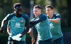 SOUTHAMPTON, ENGLAND - SEPTEMBER 19: Pierre-Emile Hojbjerg(centre) during a Southampton FC training session at the Staplewood Campus on September 19, 2019 in Southampton, England. (Photo by Matt Watson/Southampton FC via Getty Images)