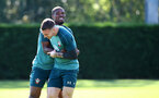 SOUTHAMPTON, ENGLAND - SEPTEMBER 19: Kevin Danso(L) and Pierre-Emile Hojbjerg during a Southampton FC training session at the Staplewood Campus on September 19, 2019 in Southampton, England. (Photo by Matt Watson/Southampton FC via Getty Images)
