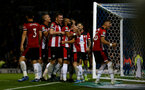PORTSMOUTH, ENGLAND - SEPTEMBER 24: Players celebrate during the Carabao Cup Third Round match between Portsmouth and Southampton at Fratton Park on September 24, 2019 in Portsmouth, England. (Photo by Matt Watson/Southampton FC via Getty Images)