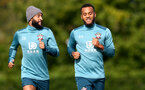 SOUTHAMPTON, ENGLAND - SEPTEMBER 26: Nathan Redmond(L) and Ryan Bertrand during a Southampton FC training session at the Staplewood Campus on September 26, 2019 in Southampton, England. (Photo by Matt Watson/Southampton FC via Getty Images)