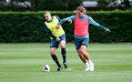SOUTHAMPTON, ENGLAND - OCTOBER 03: Oriol Romeu(L) and Jannik Vestergaard during a Southampton FC training session at the Staplewood Campus on October 03, 2019 in Southampton, England. (Photo by Matt Watson/Southampton FC via Getty Images)
