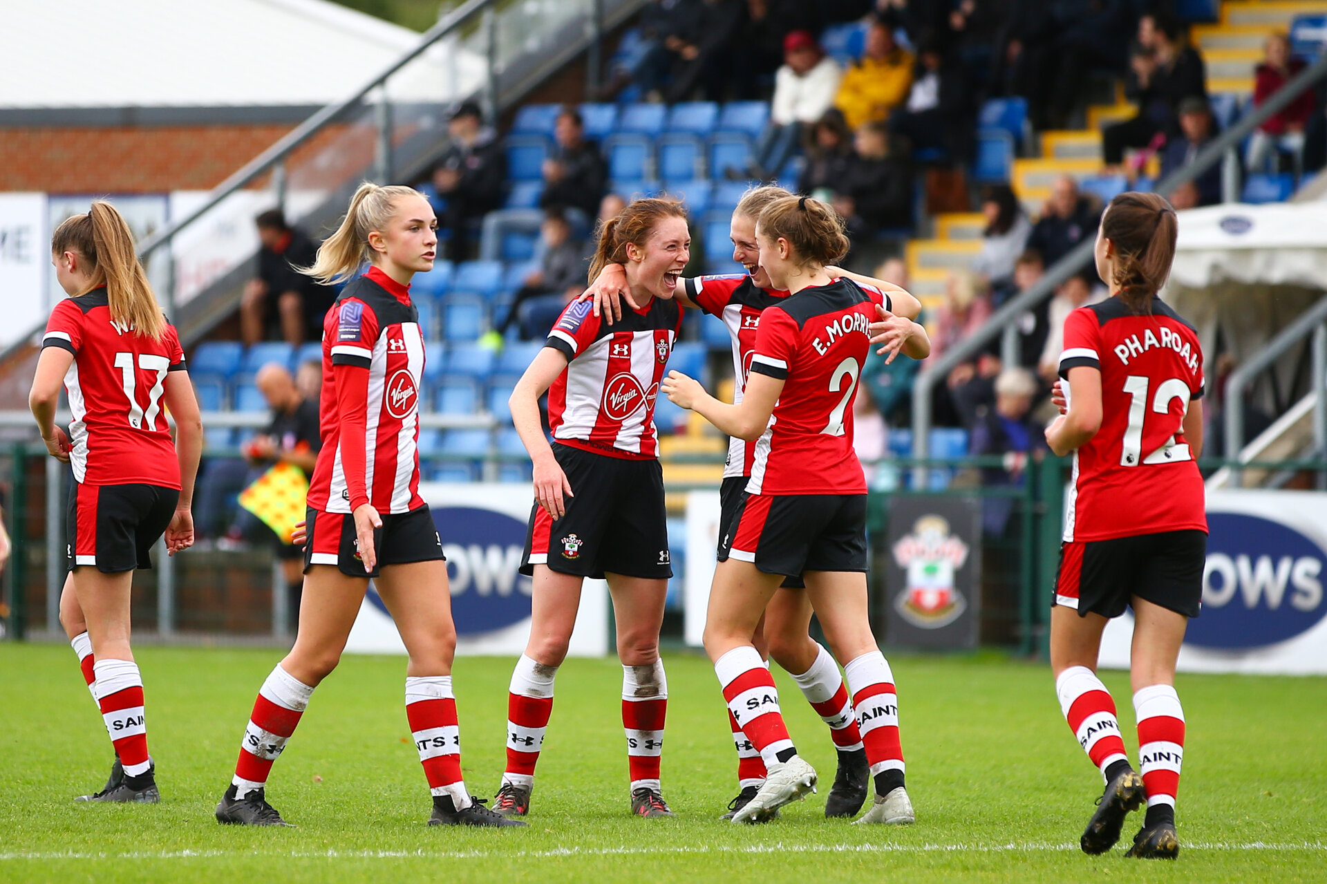 Rachel Panting goal celebration during the Woman's FA Cup, first round between Southampton FC Women and Buckland Athletic, at the Testwood Community Stadium, AFC Totton, Southampton, 13th October 2019 (pic by Isabelle Field)