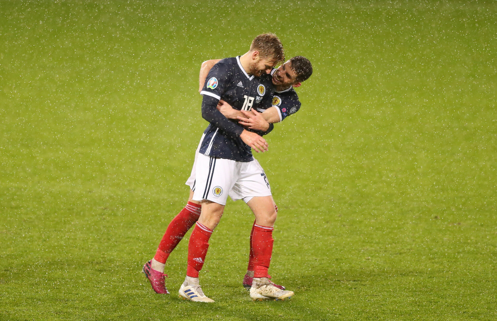 GLASGOW, SCOTLAND - OCTOBER 13:   Stuart Armstrong of Scotland celebrates after scoring their sixth goal during the UEFA Euro 2020 qualifier between Scotland and San Marino at Hampden Park on October 13, 2019 in Glasgow, Scotland. (Photo by Paul Harding - UEFA/UEFA via Getty Images)