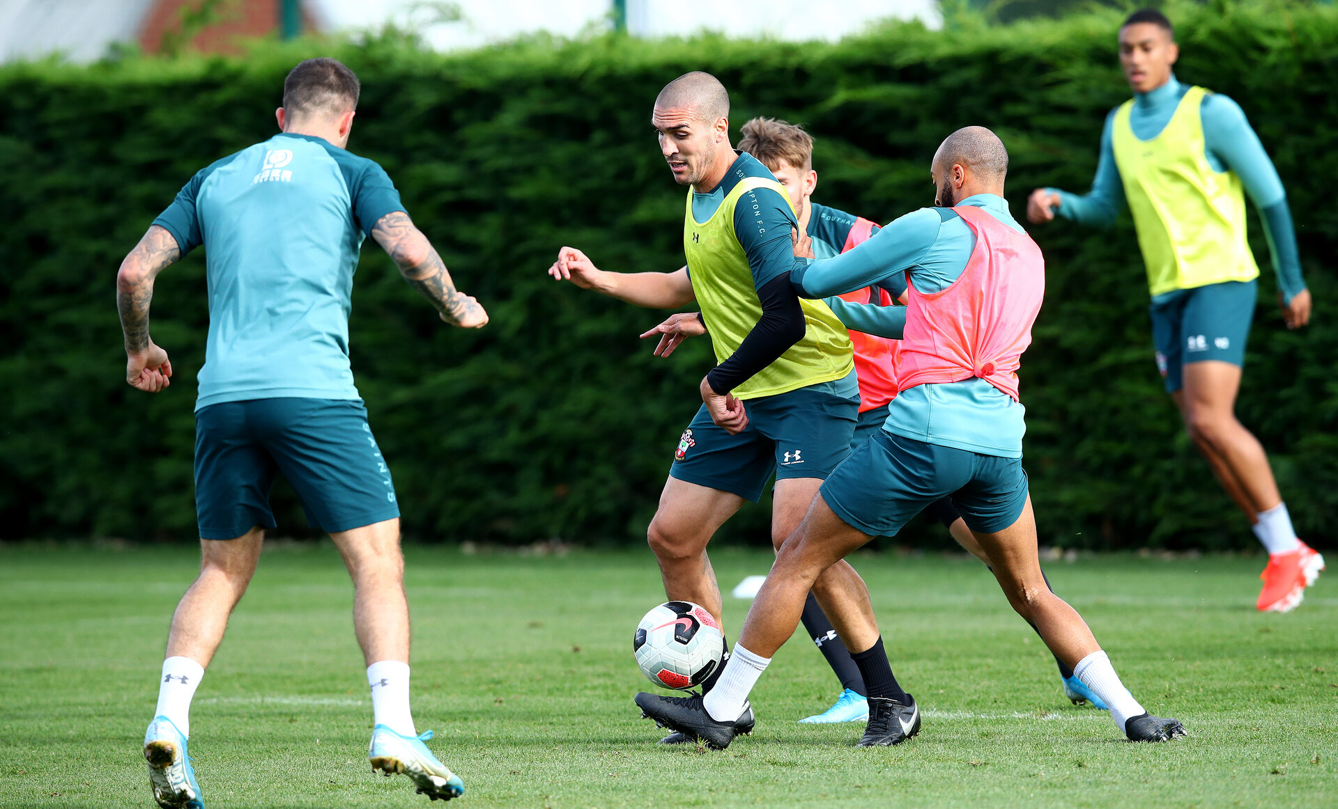 SOUTHAMPTON, ENGLAND - OCTOBER 16: Oriol Romeu(centre) during a Southampton FC training session, at the Staplewood Campus, 16th October 2019 in Southampton, England. (Photo by Matt Watson/Southampton FC via Getty Images)