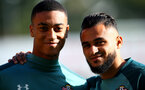 SOUTHAMPTON, ENGLAND - OCTOBER 22: Yan Valery(L) and Sofiane Boufal during a Southampton FC training session at the Staplewood Campus on October 22, 2019 in Southampton, England. (Photo by Matt Watson/Southampton FC via Getty Images)