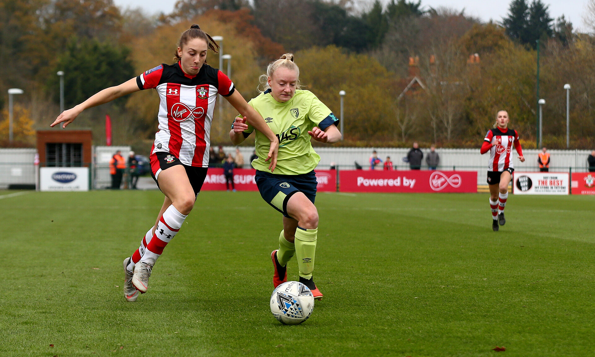 SOUTHAMPTON, ENGLAND - NOVEMBER 17: Ella Morris(L) of Southampton during Womens Hampshire Cup round 2 match between Southampton FC Women and AFC Bournemouth Women, at the Snows stadium AFC Totton, on November 17, 2019 in Southampton, England. (Photo by Matt Watson/Southampton FC via Getty Images)