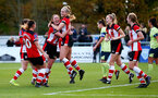 SOUTHAMPTON, ENGLAND - NOVEMBER 17: Southampton players celebrate Caitlin Morris' goal during Womens Hampshire Cup round 2 match between Southampton FC Women and AFC Bournemouth Women, at the Snows stadium AFC Totton, on November 17, 2019 in Southampton, England. (Photo by Matt Watson/Southampton FC via Getty Images)