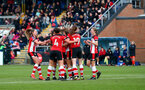 SOUTHAMPTON, ENGLAND - NOVEMBER 17: Southampton players celebrate during the Womens Hampshire Cup round 2 match between Southampton FC Women and AFC Bournemouth Women, at the Snows stadium AFC Totton, on November 17, 2019 in Southampton, England. (Photo by Matt Watson/Southampton FC via Getty Images)