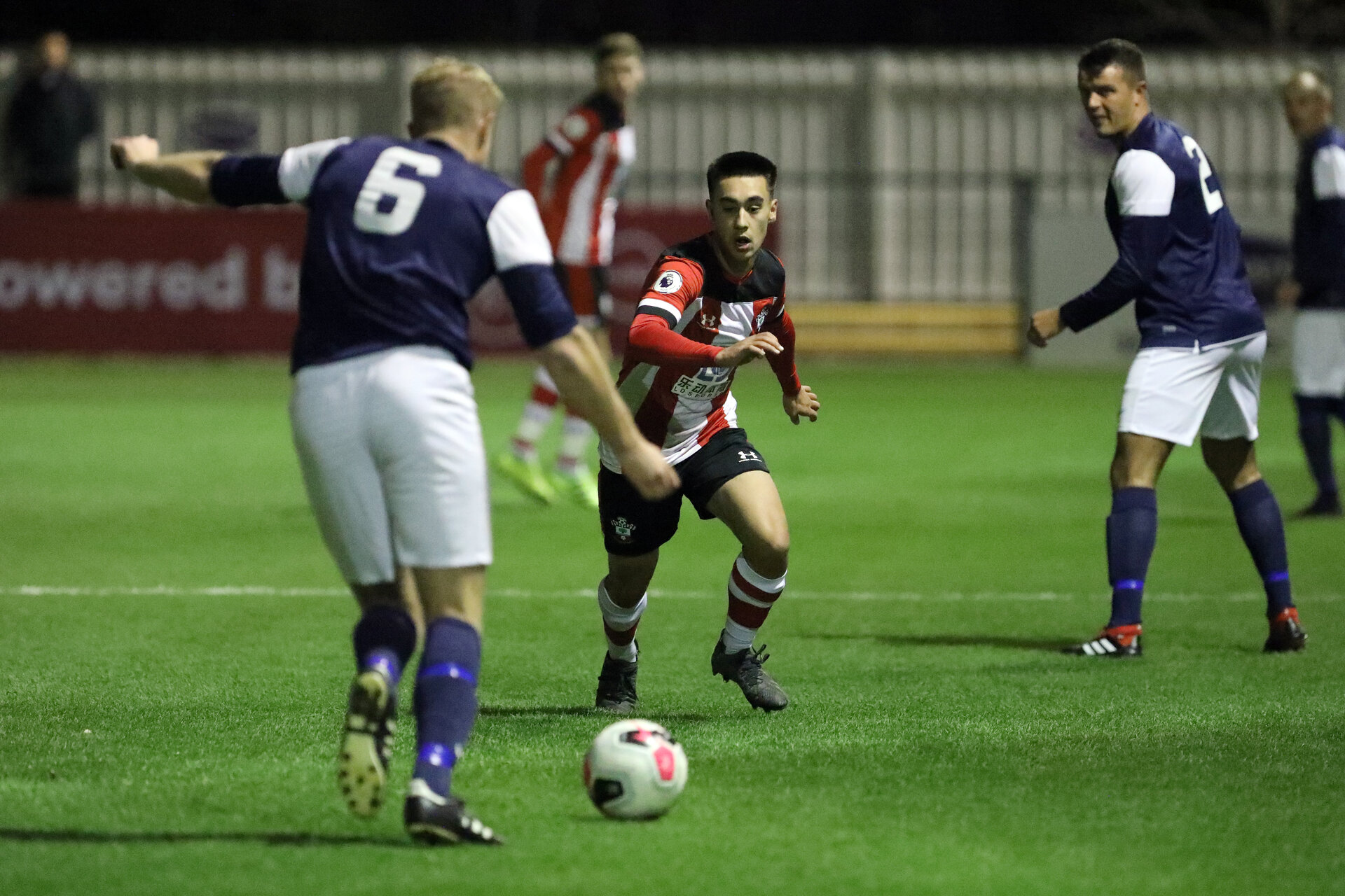 SOUTHAMPTON, ENGLAND - NOVEMBER 16: Mikey Saunders during the match between Southampton FC U23s and Royal Navy at Snows Stadium, Testwood, Totton on November 16, 2019 in the Hampshire Senior Cup at Southampton, United Kingdom. (Photo by Chris Moorhouse/Southampton FC via Getty Images)