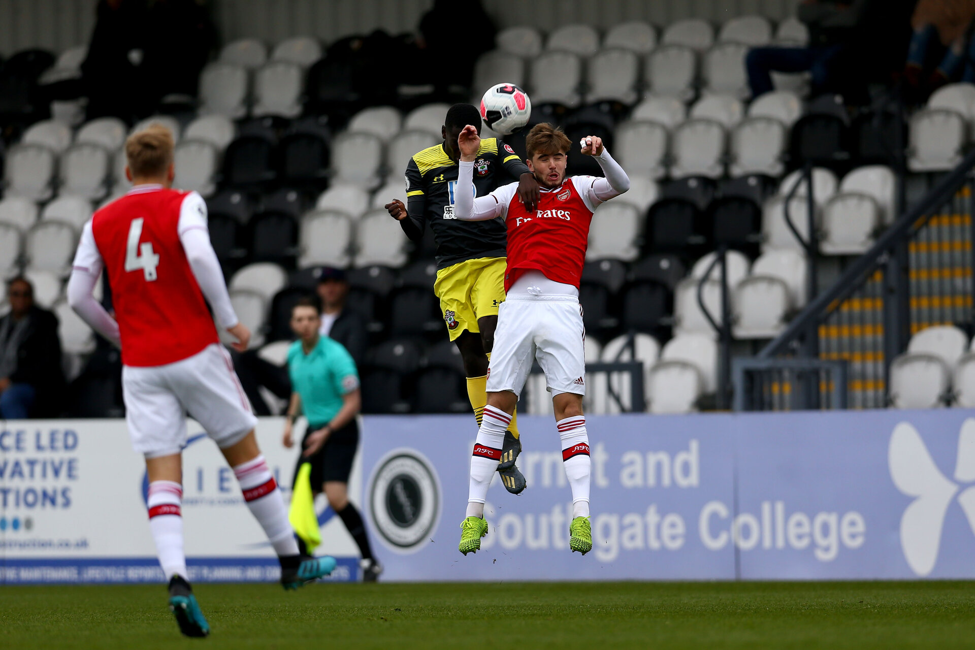 LONDON, ENGLAND - November 23: Lucas Defise header of Southampton during PL2 match between Arsenal and Southampton at Meadow Park on November 23 2019 in London England (Photo by Isabelle Field/Southampton FC via Getty Images)
