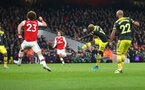LONDON, ENGLAND - NOVEMBER 23: Moussa Djenepo of Southampton shoots at goal during the Premier League match between Arsenal FC and Southampton FC at Emirates Stadium on November 23, 2019 in London, United Kingdom. (Photo by Matt Watson/Southampton FC via Getty Images)