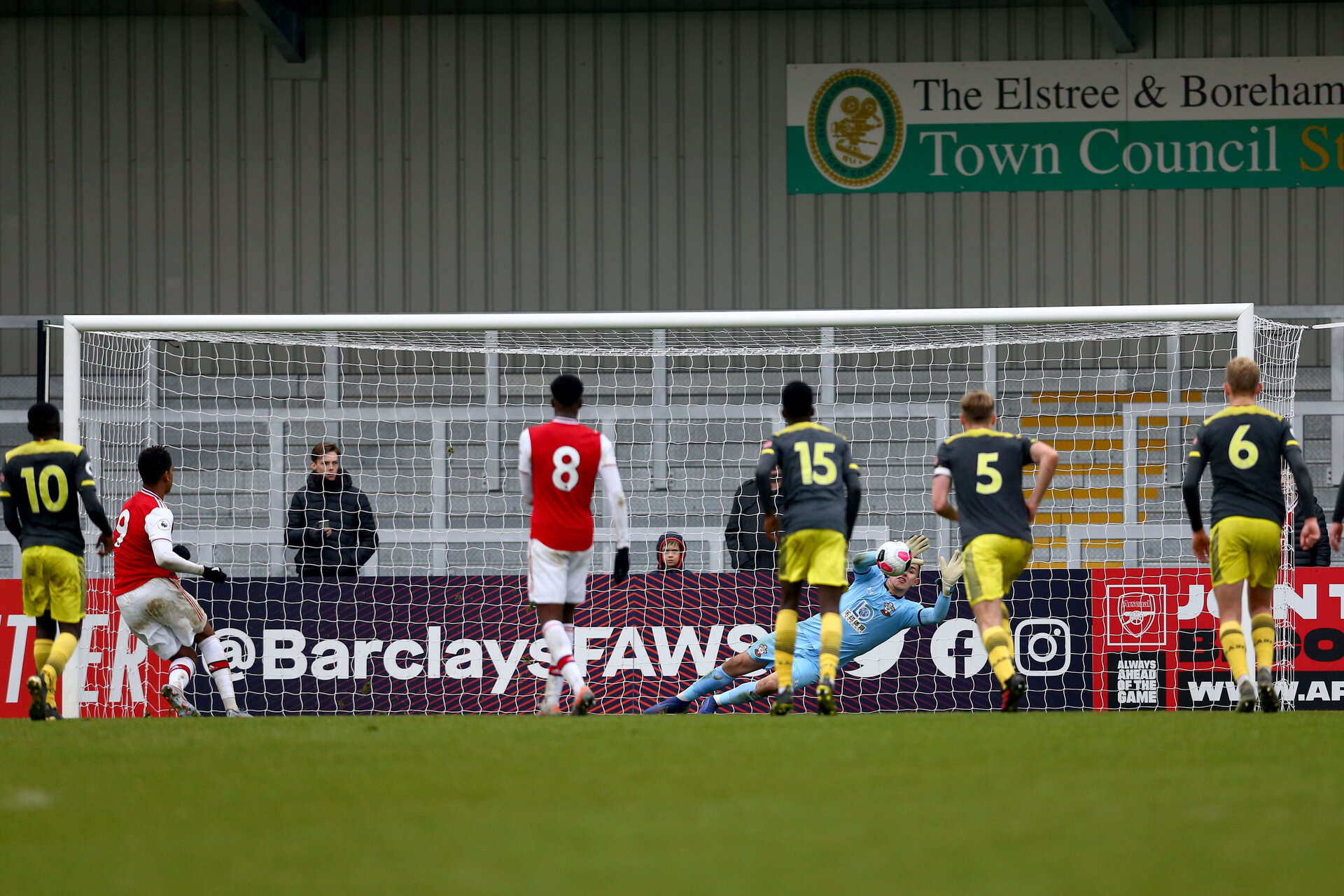 LONDON, ENGLAND - November 23: Tommy Scott saving penalty of Southampton during PL2 match between Arsenal and Southampton at Meadow Park on November 23 2019 in London England (Photo by Isabelle Field/Southampton FC via Getty Images)