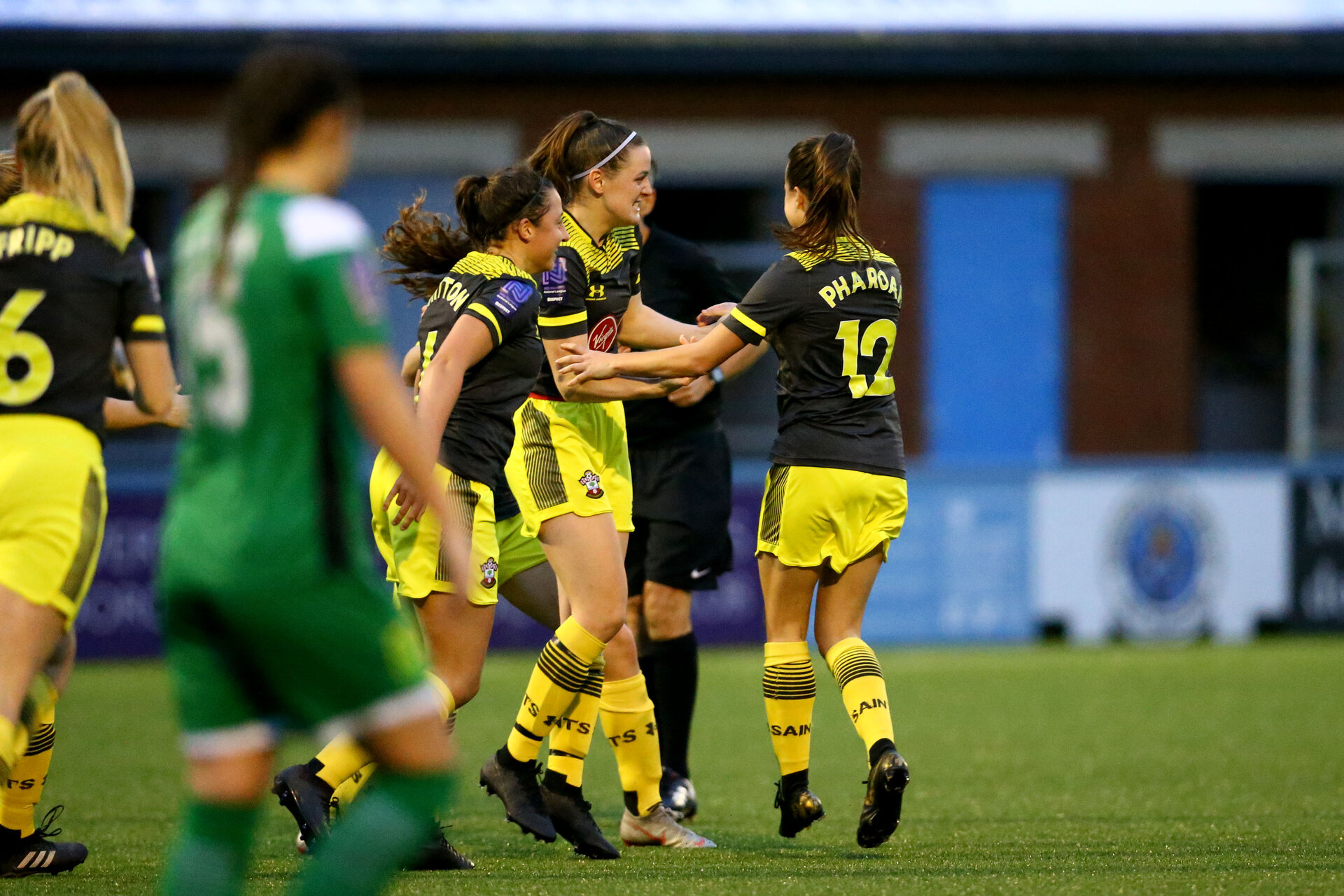 YEOVIL, ENGLAND - November 24: Ella Pusey goal celebrration during the SRWFL at The Avenue between Yeovil and Southampton Women on November 24 2019, Yeovil, England. (Photo by Isabelle Field/Southampton FC via Getty Images)