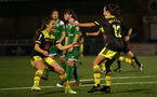 YEOVIL, ENGLAND - November 24: ET Georgoe Freeland (L) and Sophia Pharoah celebration during the SRWFL at The Avenue between Yeovil and Southampton Women on November 24 2019, Yeovil, England. (Photo by Isabelle Field/Southampton FC via Getty Images)