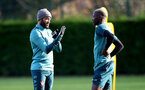 SOUTHAMPTON, ENGLAND - NOVEMBER 28: Nathan Redmond(L) and Moussa Djenepo during a Southampton FC training session at the Staplewood Campus on November 28, 2019 in Southampton, England. (Photo by Matt Watson/Southampton FC via Getty Images)