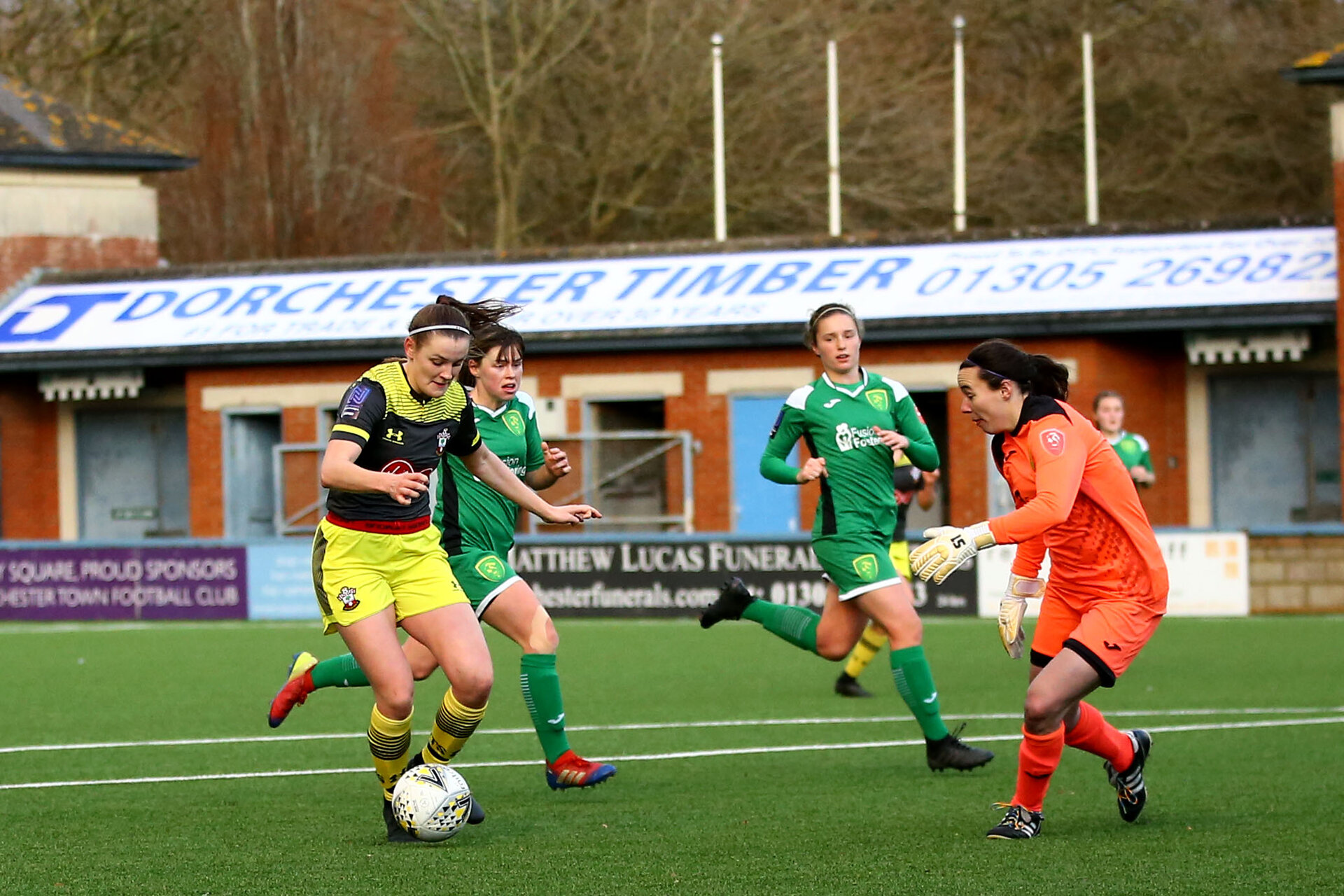 YEOVIL, ENGLAND - DECEMBER 01: Ella Pusey shot during the FA Cup, second round, at The Avenue between Yeovil and Southampton Women on December 01 2019, Yeovil, England. (Photo by Isabelle Field/Southampton FC via Getty Images)
