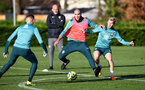 SOUTHAMPTON, ENGLAND - DECEMBER 02: Oriol Romeu(L) and Josh Sims during a Southampton FC training session at the Staplewood Campus on December 02, 2019 in Southampton, England. (Photo by Matt Watson/Southampton FC via Getty Images)