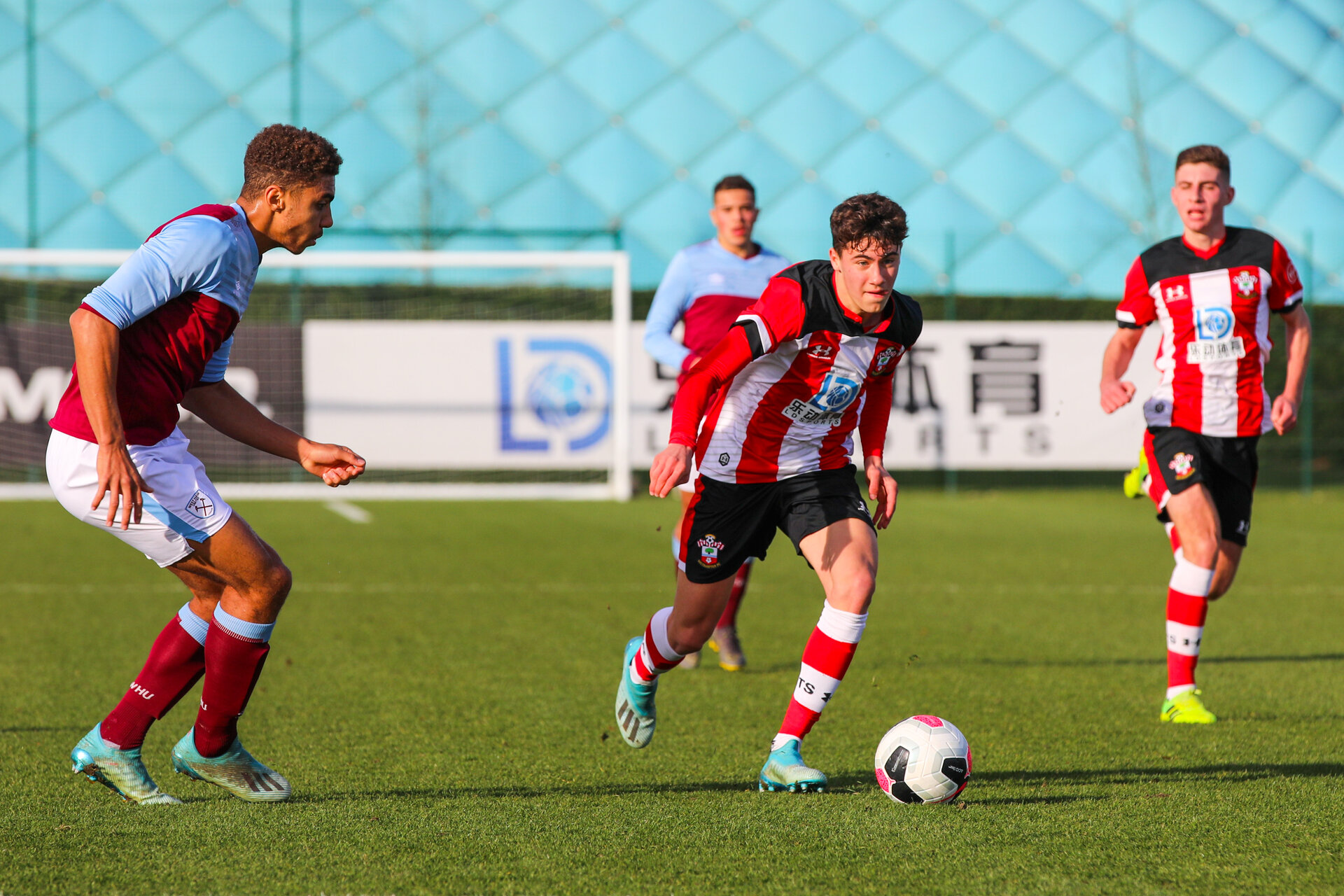 SOUTHAMPTON, ENGLAND - DECEMBER 07: Marco Rus of Southampton FC takes on an opponent during the Barclays Under 18 Premier League match between Southampton FC and West Ham United at the Staplewood Campus on December 07, 2019 in Southampton, England