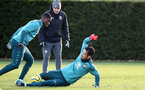 SOUTHAMPTON, ENGLAND - DECEMBER 15: Kevin Danso(L) and Maya Yoshida during a Southampton FC training session at Staplewood Campus on December 15, 2019 in Southampton, England. (Photo by Matt Watson/Southampton FC via Getty Images)