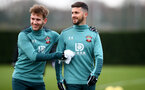 SOUTHAMPTON, ENGLAND - DECEMBER 19: Jake Vokins(L) and Shane Long during a Southampton FC training session at the Staplewood Campus on December 19, 2019 in Southampton, England. (Photo by Matt Watson/Southampton FC via Getty Images)