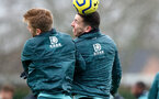 SOUTHAMPTON, ENGLAND - DECEMBER 19: Stuart Armstrong(L) and Pierre-Emile Hojbjerg during a Southampton FC training session at the Staplewood Campus on December 19, 2019 in Southampton, England. (Photo by Matt Watson/Southampton FC via Getty Images)