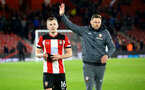 SOUTHAMPTON, ENGLAND - DECEMBER 28: James Ward-Prowse and Ralph Hasenhuttl during the Premier League match between Southampton FC and Crystal Palace at St Mary's Stadium, on December 28, 2019 in Southampton, United Kingdom. (Photo by Isabelle Field/Getty Images)